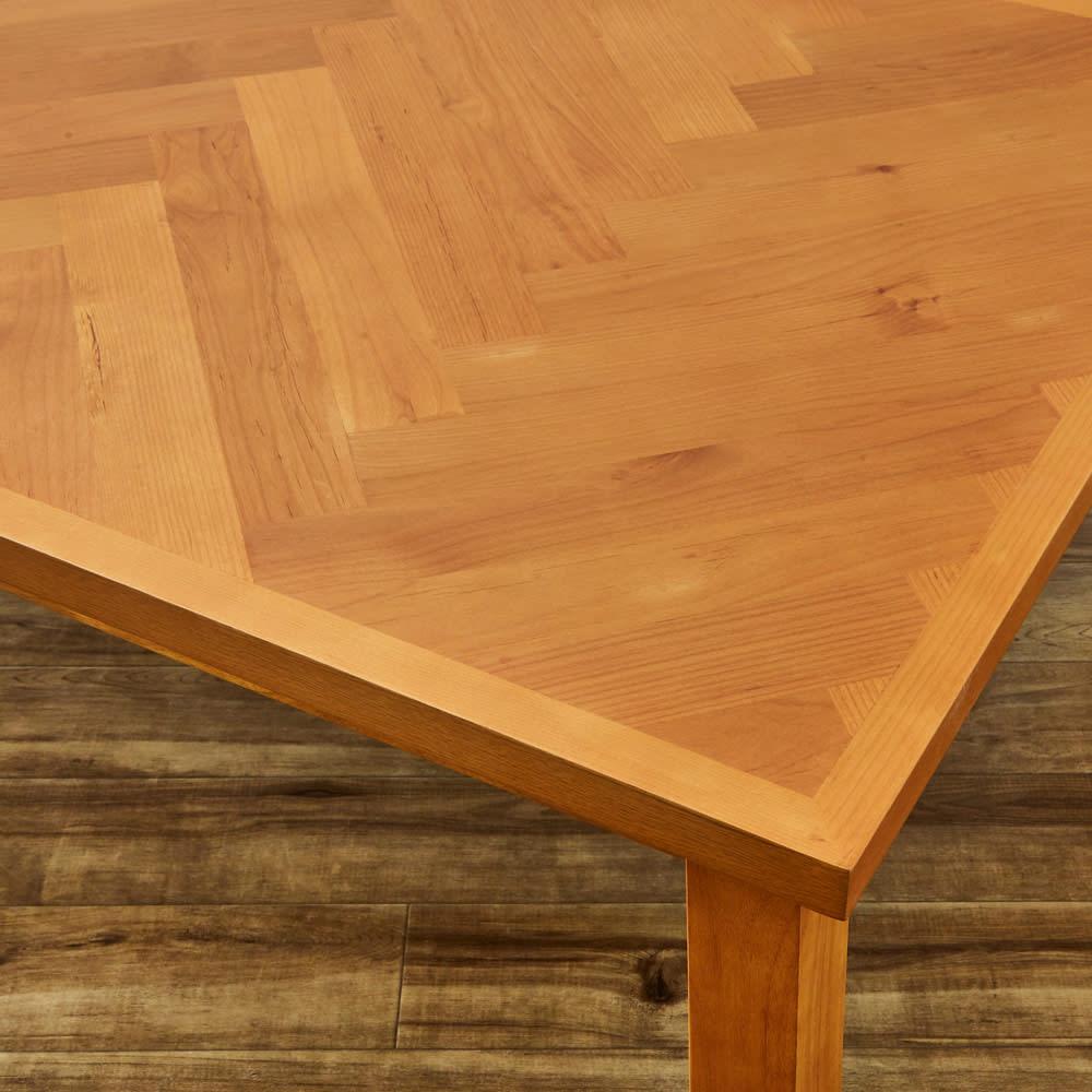 【長方形】ヘリンボーン柄こたつテーブル幅120cm 奥行80cm 〈ウエイブ〉 (ア)アルダー