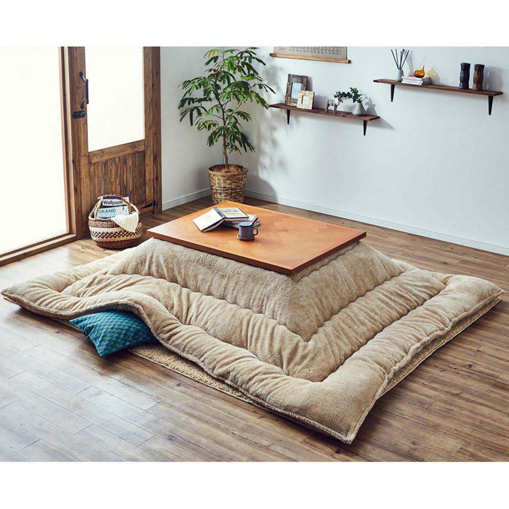【長方形】ヘリンボーン柄こたつテーブル幅120cm 奥行80cm 〈ウエイブ〉 冬は掛け布団を組み合わせてあたたみのある空間に。 ※掛け布団はマイクロファイバーシープこたつ掛長方形になります