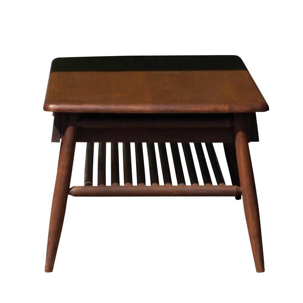 棚付き天然木テーブル (イ)ダークブラウン