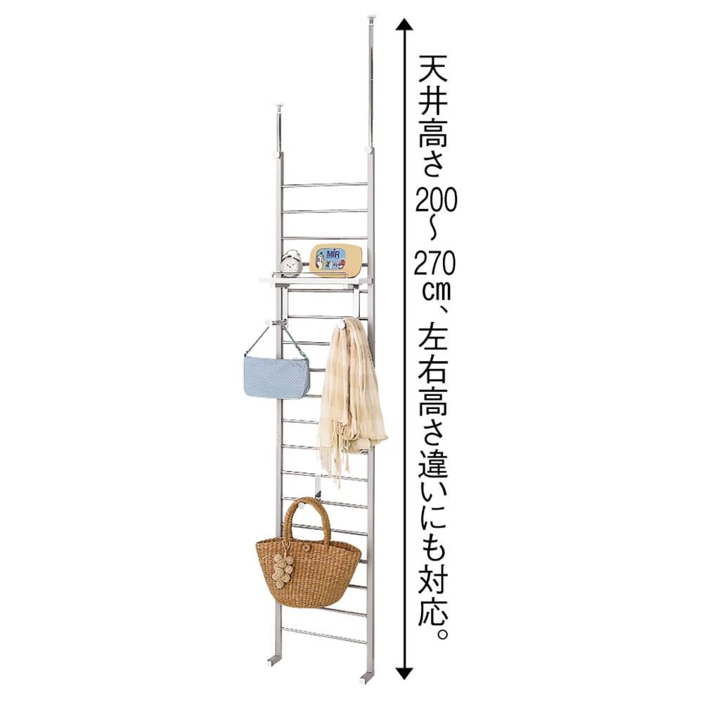 突っ張りブティックハンガー 幅40cm 天井突っ張りは270cmまで対応。
