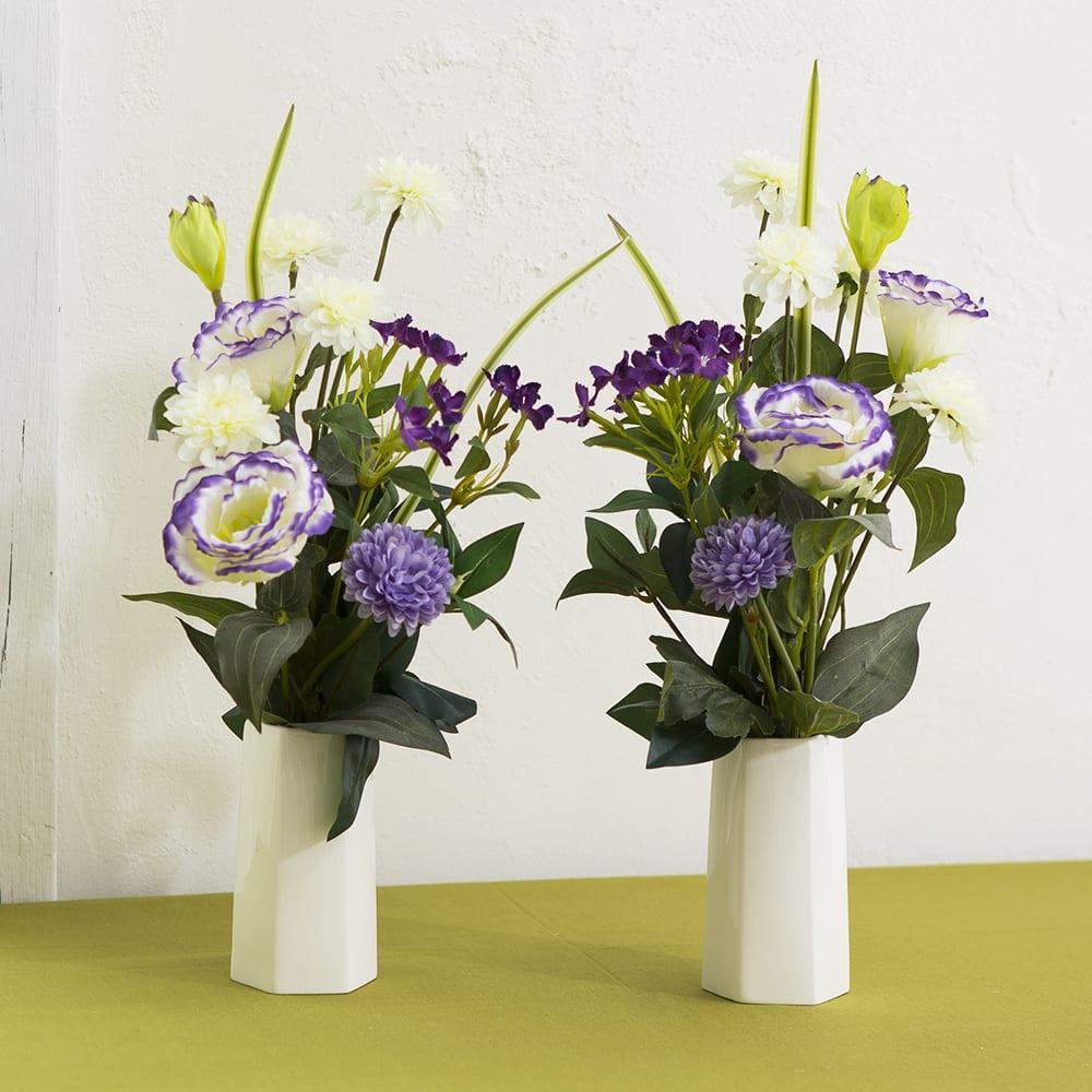 メモリアルアーティフィシャルブーケ ホワイトパープル 2つに分けて花器に入れてご自宅に、または墓前に。(商品に花器は含まれません)