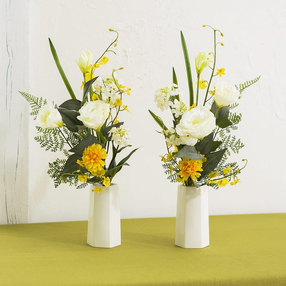 メモリアルアーティフィシャルブーケ ホワイト×イエロー 花器に活けてご自宅の仏壇に、または墓前に。(商品に花器は含まれません)