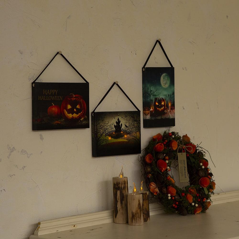 ハロウィン ウォールアート 3柄セット スイッチを入れると埋め込まれたLEDライトがほのかに灯ります