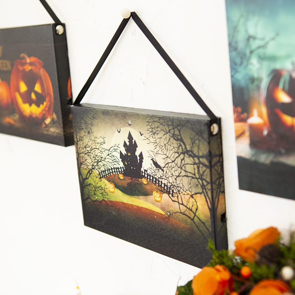 ハロウィン ウォールアート 3柄セット 引っかけ部分の紐付きですぐに飾っていただけます