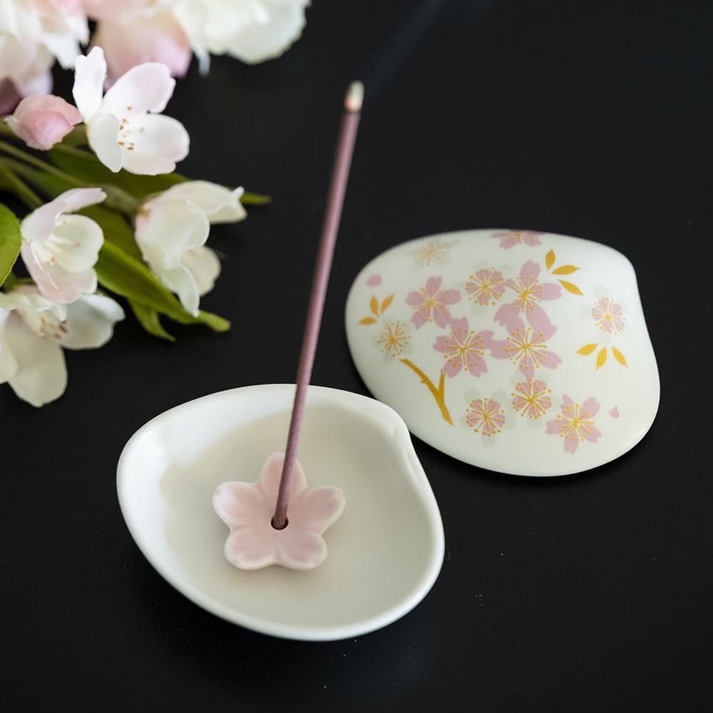 4種の桜のお香&貝の香皿 セット お香立て使用時