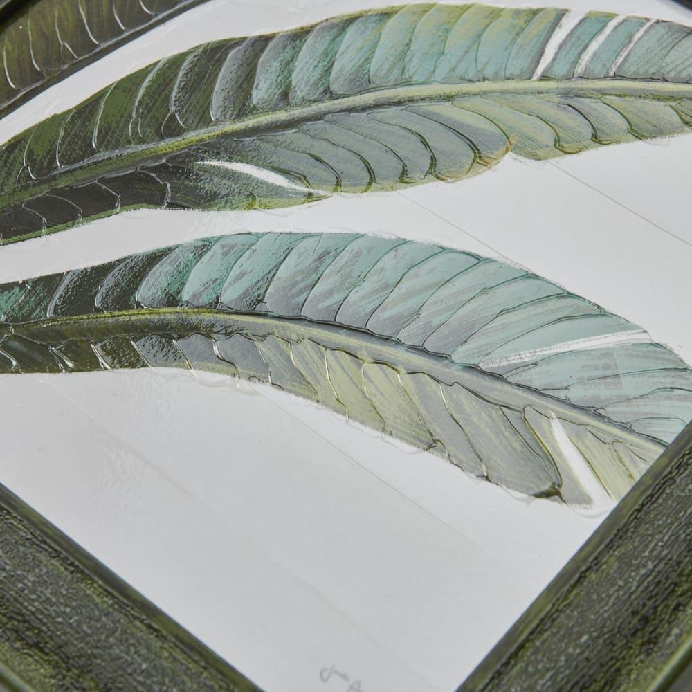 アートフレーム ジャネール・ペナー 「トロピカルリーフ」 表面はゲル加工されており、本当にペインティングされたようなリアル感があります。