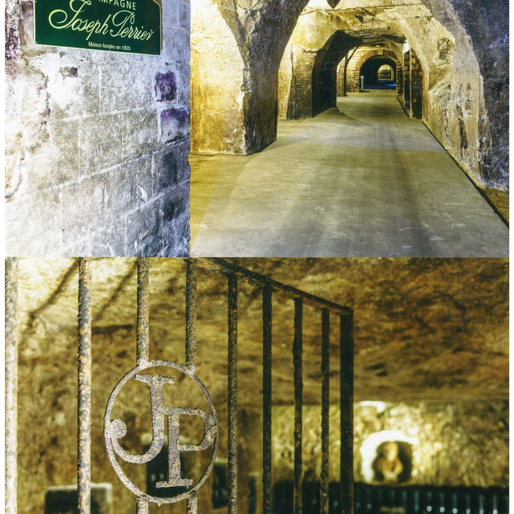 ジョセフペリエハーフボトル グラス2客付ミモザスペシャルセット ジョセフ・ペリエのカーヴ(地下貯蔵庫)は、元は2000年以上前のローマ時代に掘られた石切り場で、全長約3kmで世界遺産にも登録されています。現在はシャンパンの瓶内熟成用に使用されております。