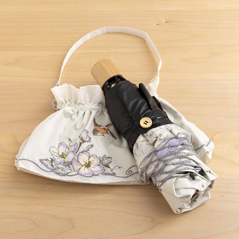晴雨兼用 二重張り折り畳み日傘 芙蓉 持ち運びにも便利なサイズです