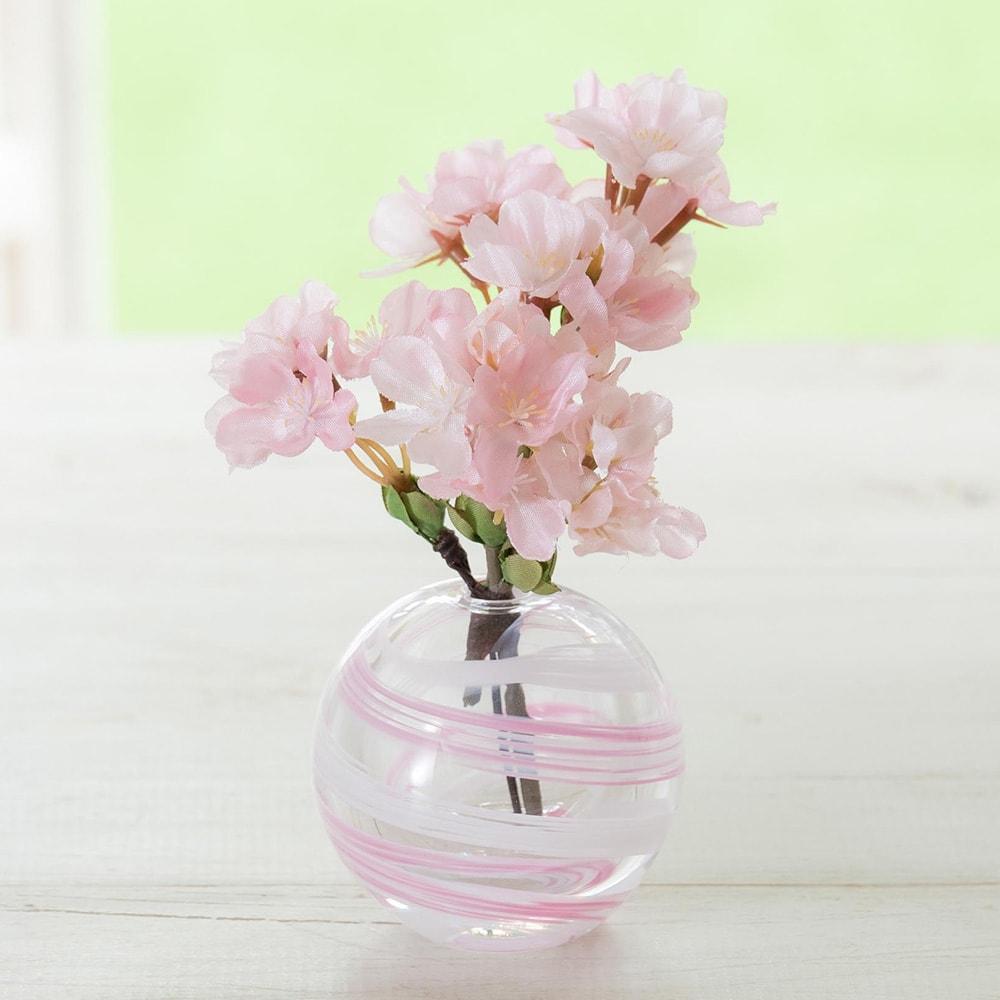 津軽びいどろ花瓶と季節の花を楽しむセット (ア)さくら