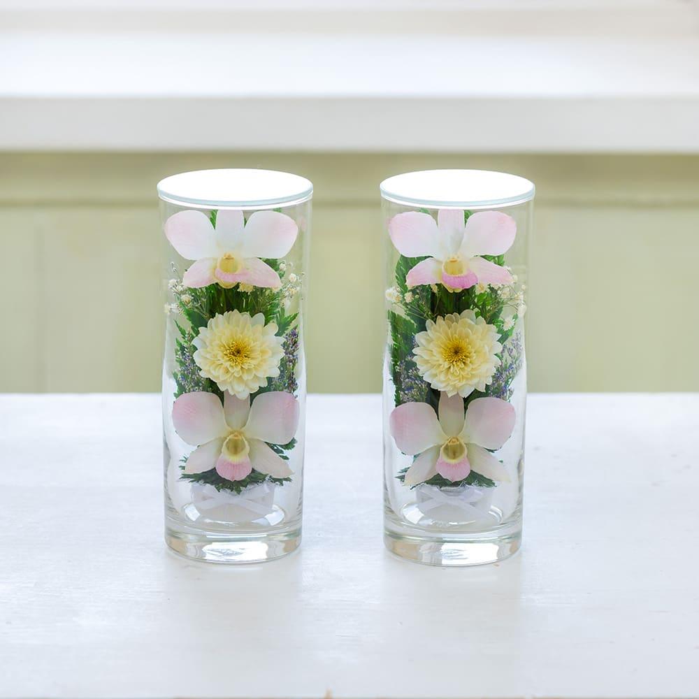 ガラスケース入りお供えアレンジLピンク 本物のお花をガラスに閉じこめた、エレガントな供花