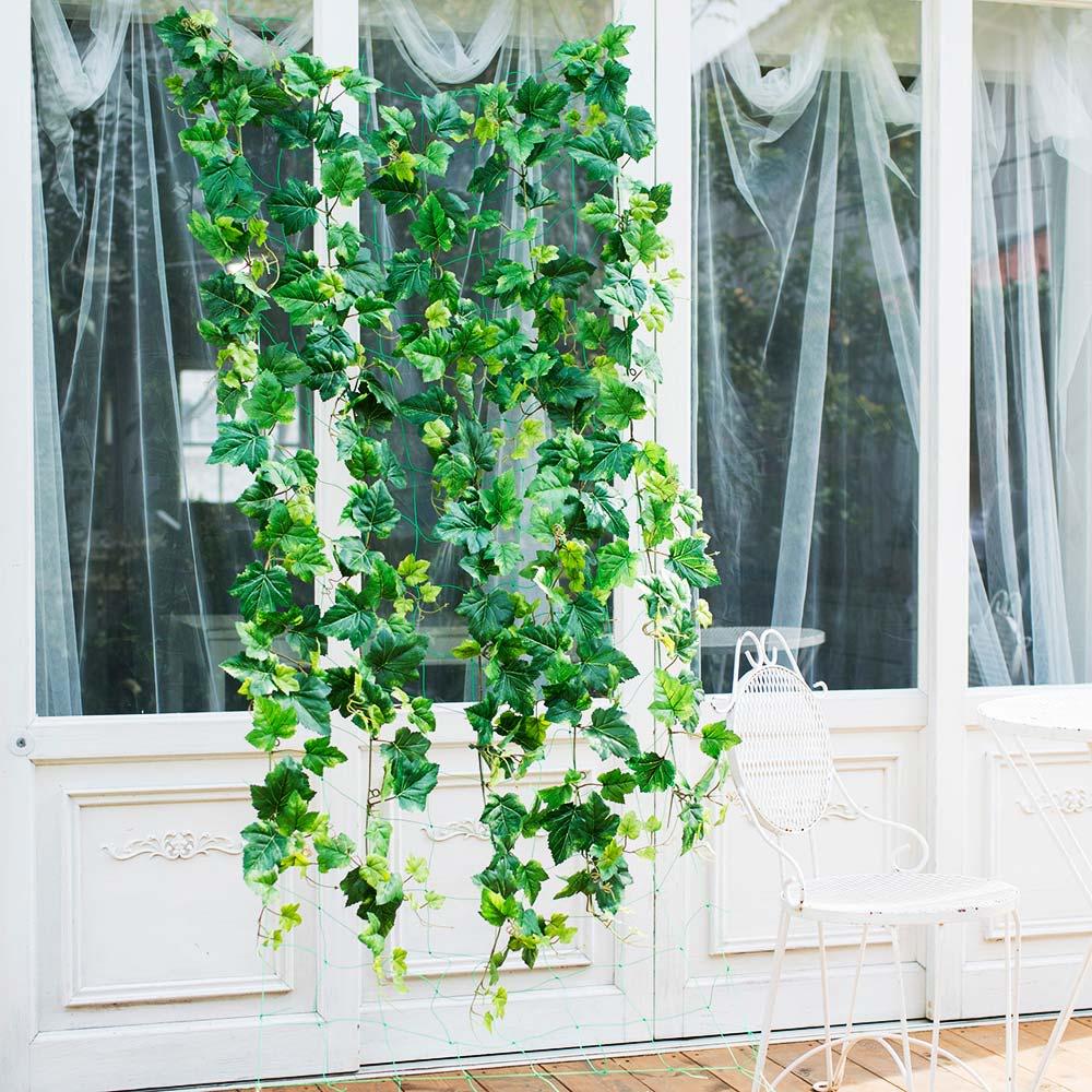 グレープリーフのグリーンカーテン ベランダ等に取り付けるだけ!外からの視線もカットできるアーティフィシャルグリーン