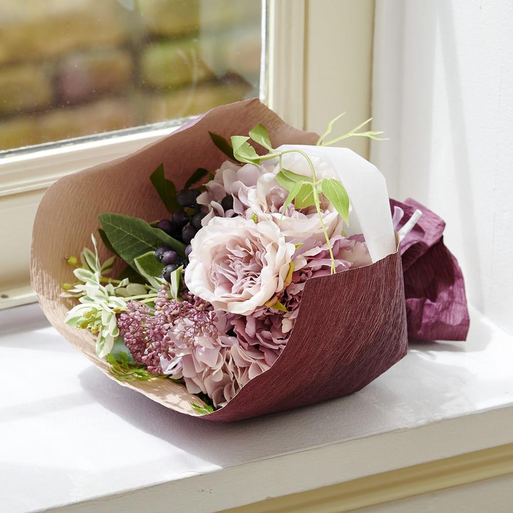PRIMAメルシーブーケ ピンクパープル系 パープルベリーやモーブ~ピンク系の花を集めて花束にしました