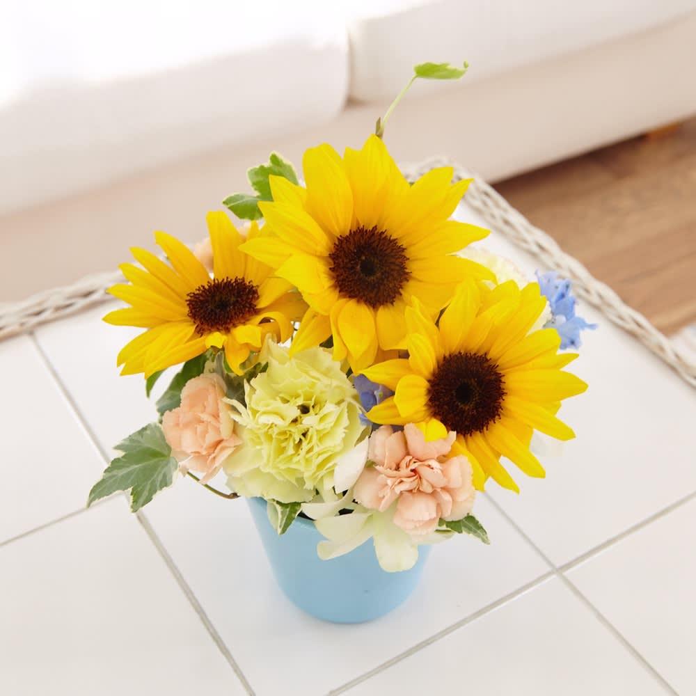 【父の日ギフト】爽やかひまわりの生花アレンジメント 生花・花束・アレンジメント