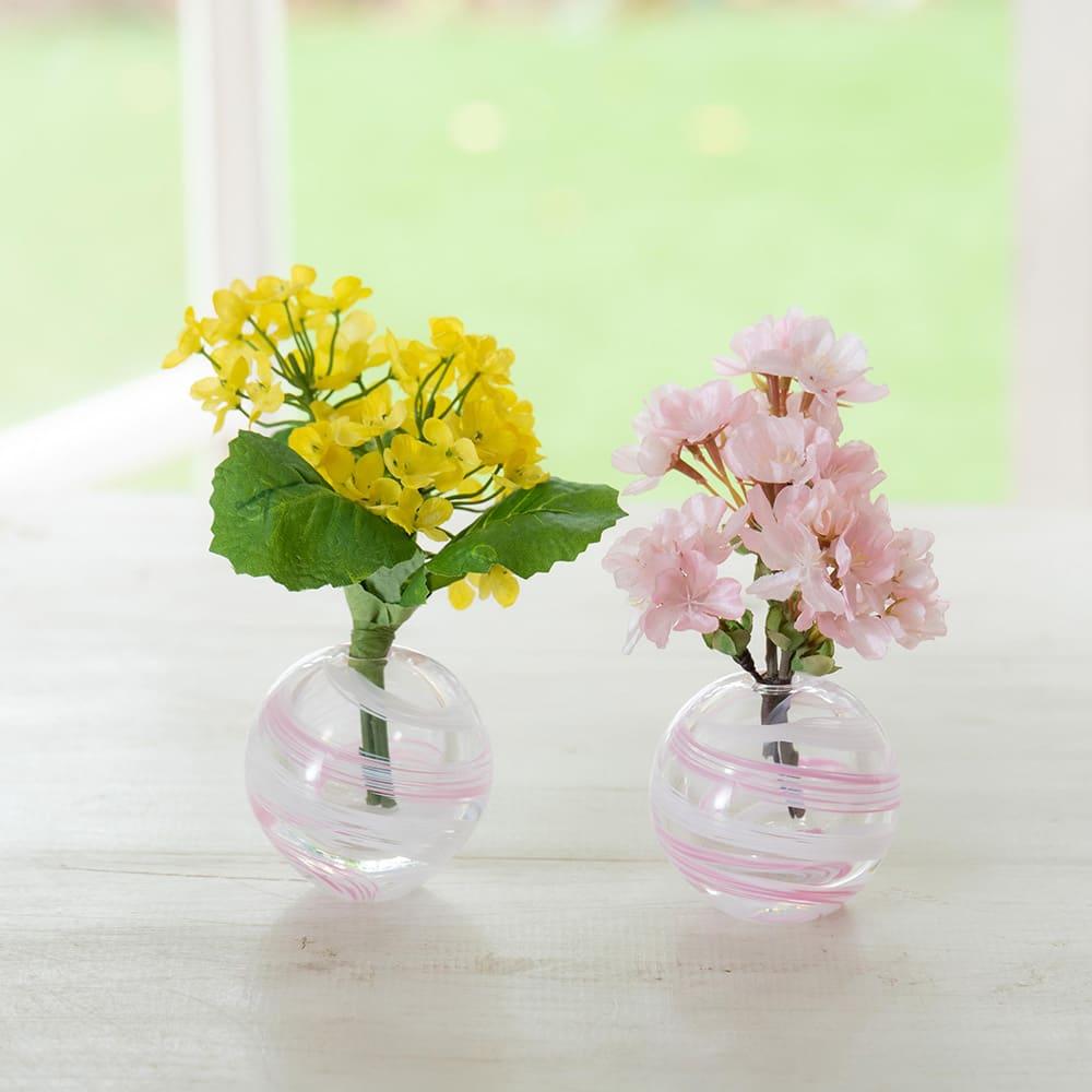 津軽びいどろ花瓶と季節の花を楽しむセット 津軽びいどろとそのまま楽しめるアーティフィシャルフラワーのセット
