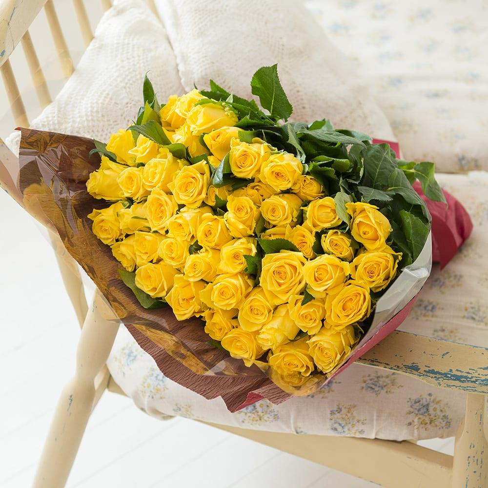 産地直送バラ花束(50本)イエロー系