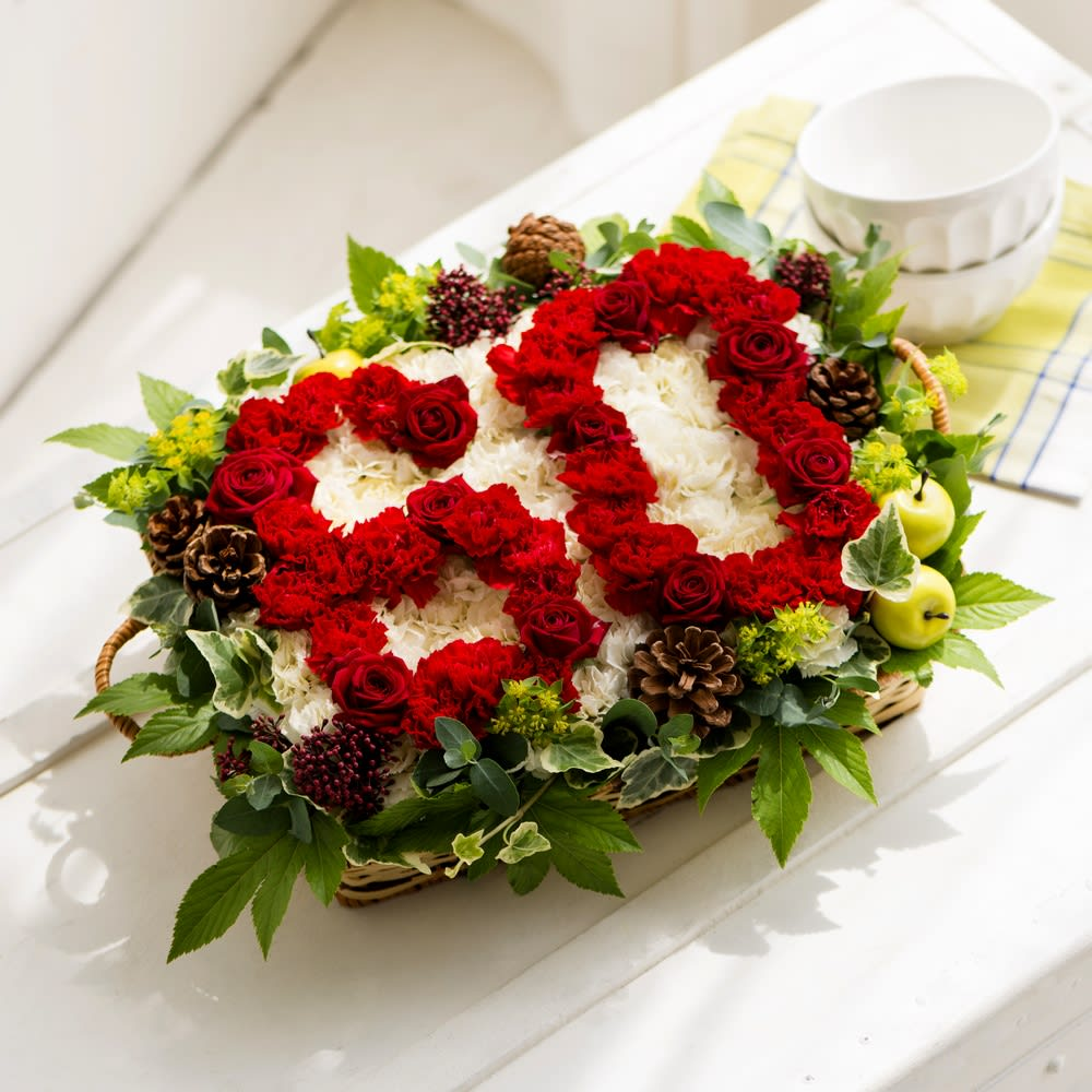 生花ナンバーアレンジメント「還暦」 お花で作った「60」の文字。大切な方へ贈る記念日ギフト