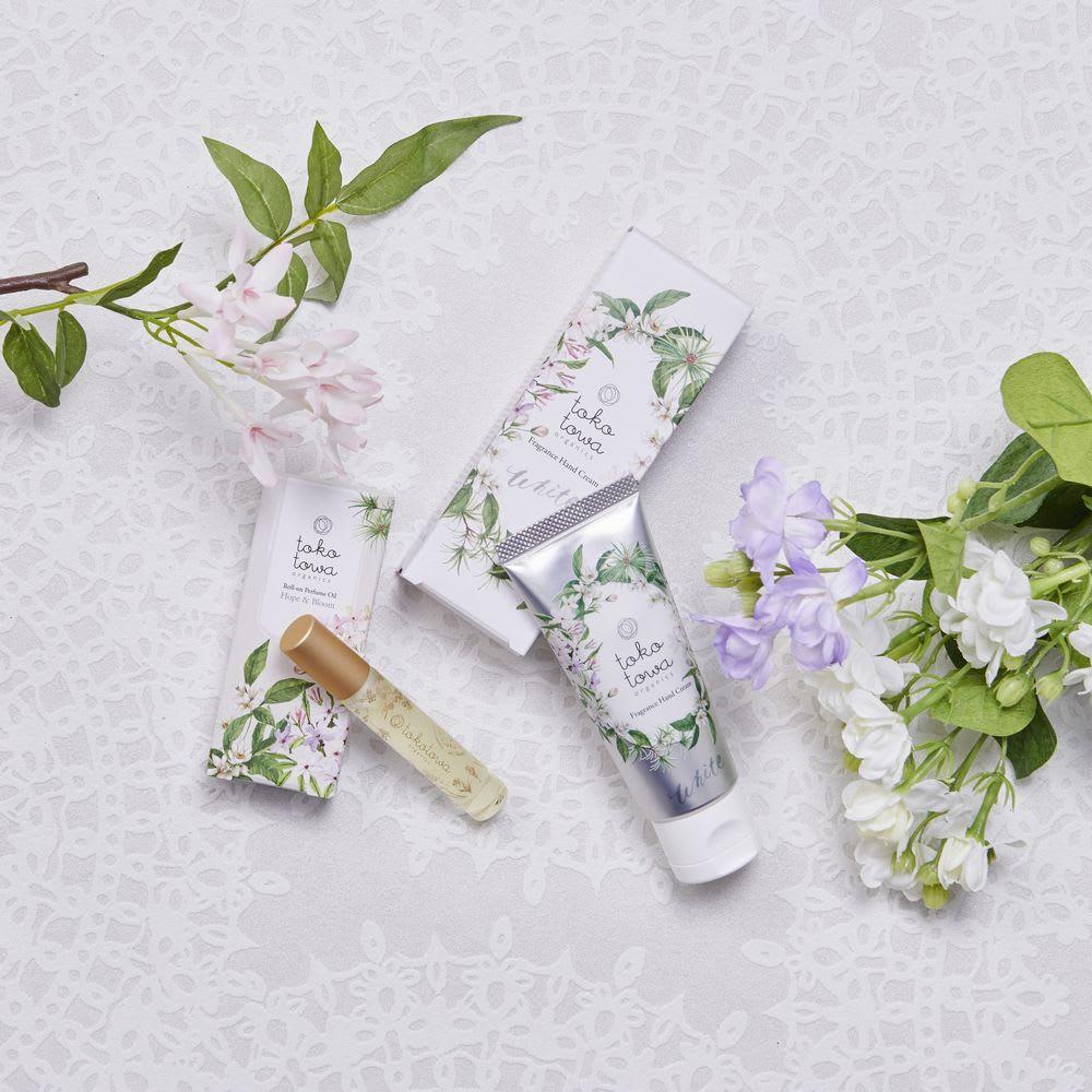 トコトワハンドクリーム&パフュームオイル ホワイト - Hope & Bloom - オーガニックの優しい香り広がるパフュームオイルとハンドクリームのセット