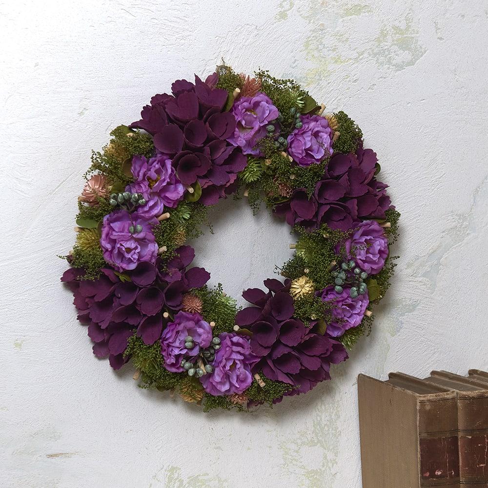 パープルフラワーリース 秋から飾れるシックなリース