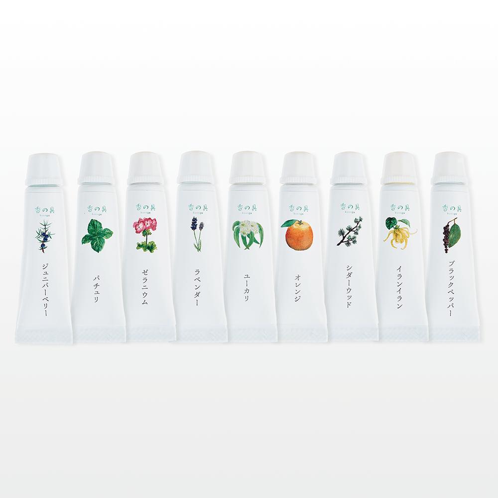 天然精油配合絵の具 香の具&ポストカードセット 精油配合のそれぞれ異なる香りの絵具が9色