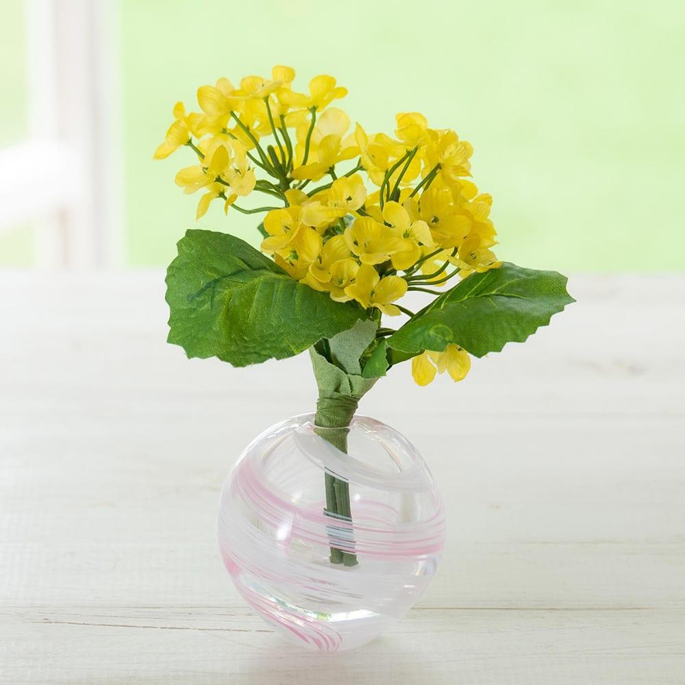 津軽びいどろ花瓶と季節の花を楽しむセット (イ)なのはな