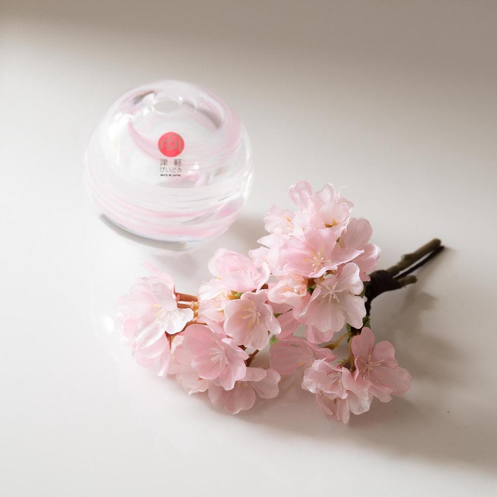 津軽びいどろ花瓶と季節の花を楽しむセット お届け後、ご自身で花瓶にセットいただきます