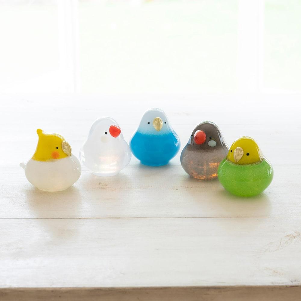 小鳥のインテリア「わたしの家族」 小鳥のガラスオーナメントです