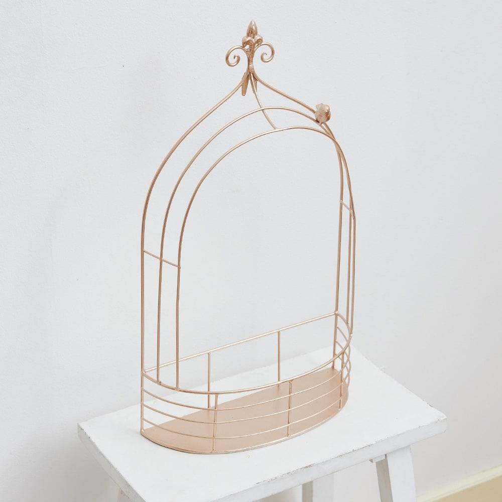 鳥かご ウォールシェルフセット 下部分に奥行きがあり、ここにお持ちのグリーンを置いたり、かごを置いてキーなど小物入れにしても