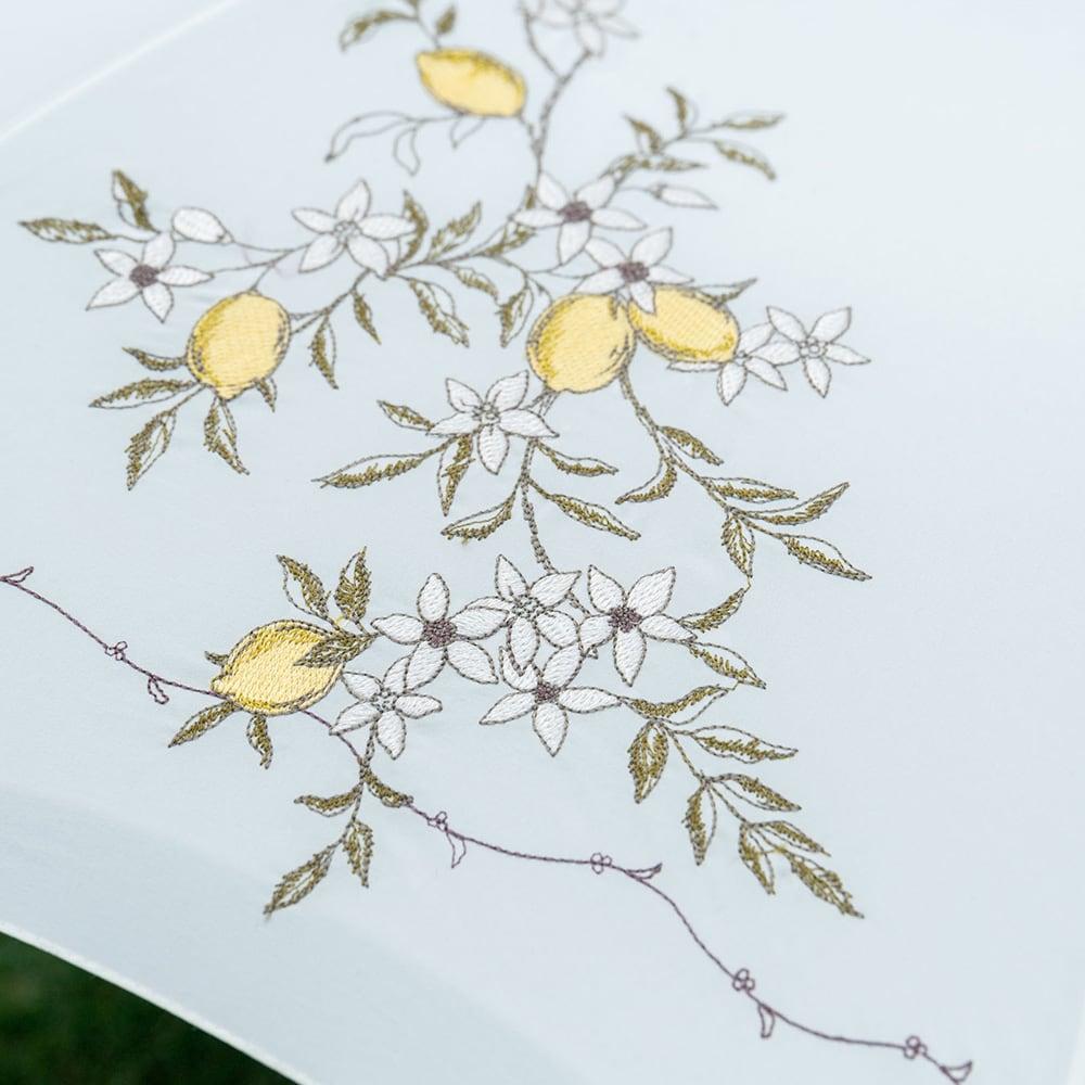 晴雨兼用 女優日傘長傘 レモン刺繍 レモンの木の刺しゅうが爽やかで美しい