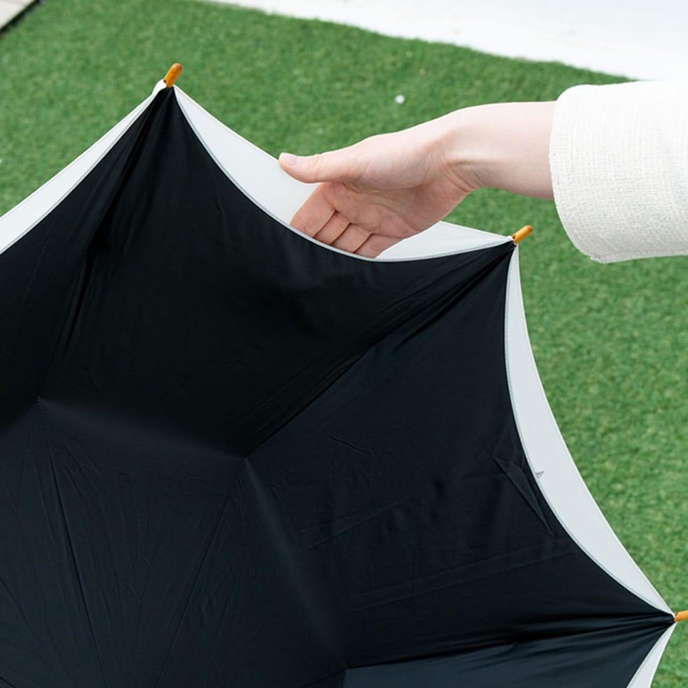 晴雨兼用 女優日傘長傘 レモン刺繍 内側ウレタンコーティング生地との二重張りで高い機能性を併せ持っています
