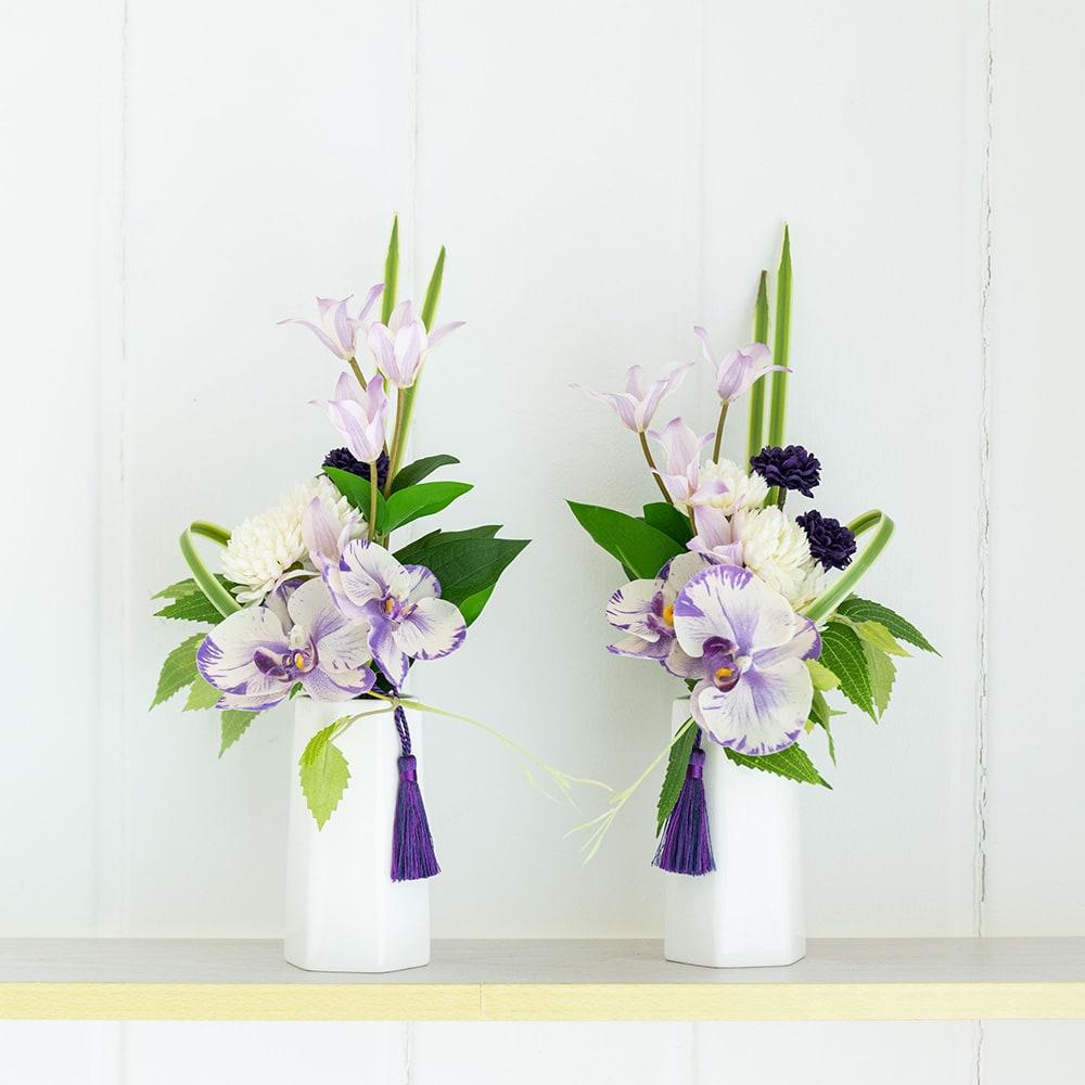 PRIMAパープル系胡蝶蘭入供花アレンジ 左側:(ア)、右側:(イ) お飾りするスペースに合わせて左右どちらかか、対の場合左右でお買い求めください