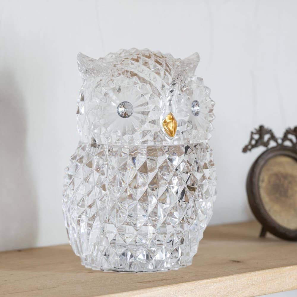 LEDライト付小物入れ フクロウ ガラスのような見た目ながらアクリル製なので割れにくく使いやすい!