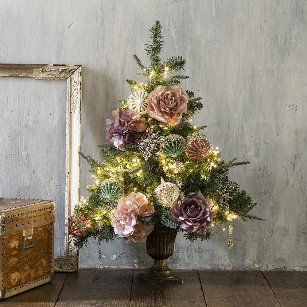 インテリア雑貨 日用品 年中行事用品 季節商品 クリスマスツリー 飾り オーナメント ハーフクリスマスツリー+LEDライト+オーナメントセット FL7609