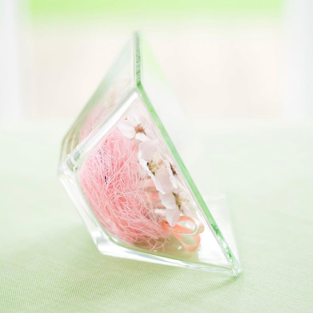 桜 アレンジ ガラスケース入り ドライフラワー 春 ピンク インテリア サクラ ギフト プレゼント 誕生日 日本製 横から