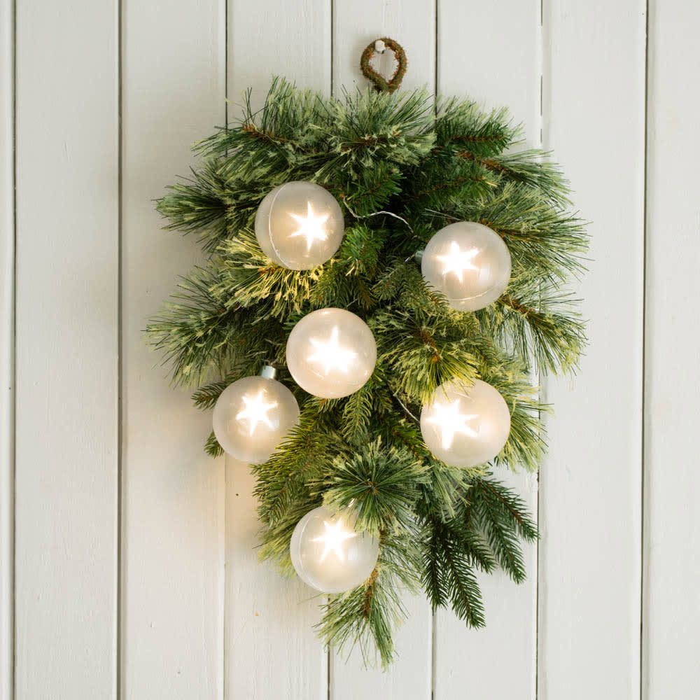 スターライト スワッグ アーティフィシャルグリーン フェイクグリーン 壁飾り 壁掛け おしゃれ 冬 ギフト プレゼント クリスマス 誕生日 日本製 FP4203
