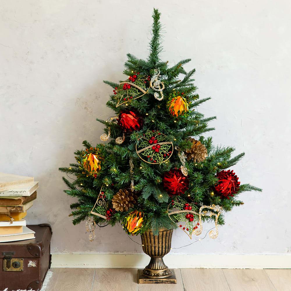 クリスマス ギフト プレゼント オーナメント付 スマートハーフ クリスマスツリー アーティフィシャルグリーン フェイクグリーン おしゃれ 誕生日 FP4211