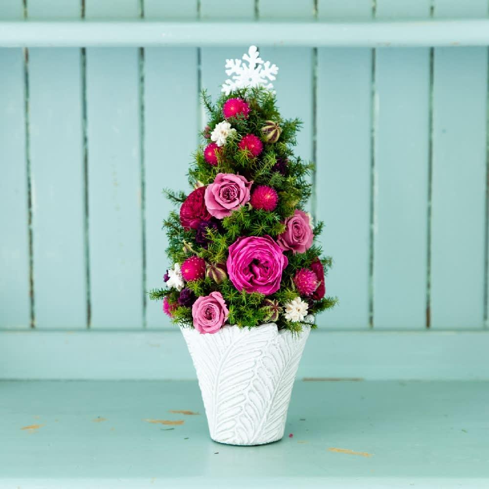 クリスマス ギフト プレゼント プリザーブドフラワー テーブルツリー ローズ ピンク ドライフラワー アレンジメント 冬 誕生日 日本製 FP4223