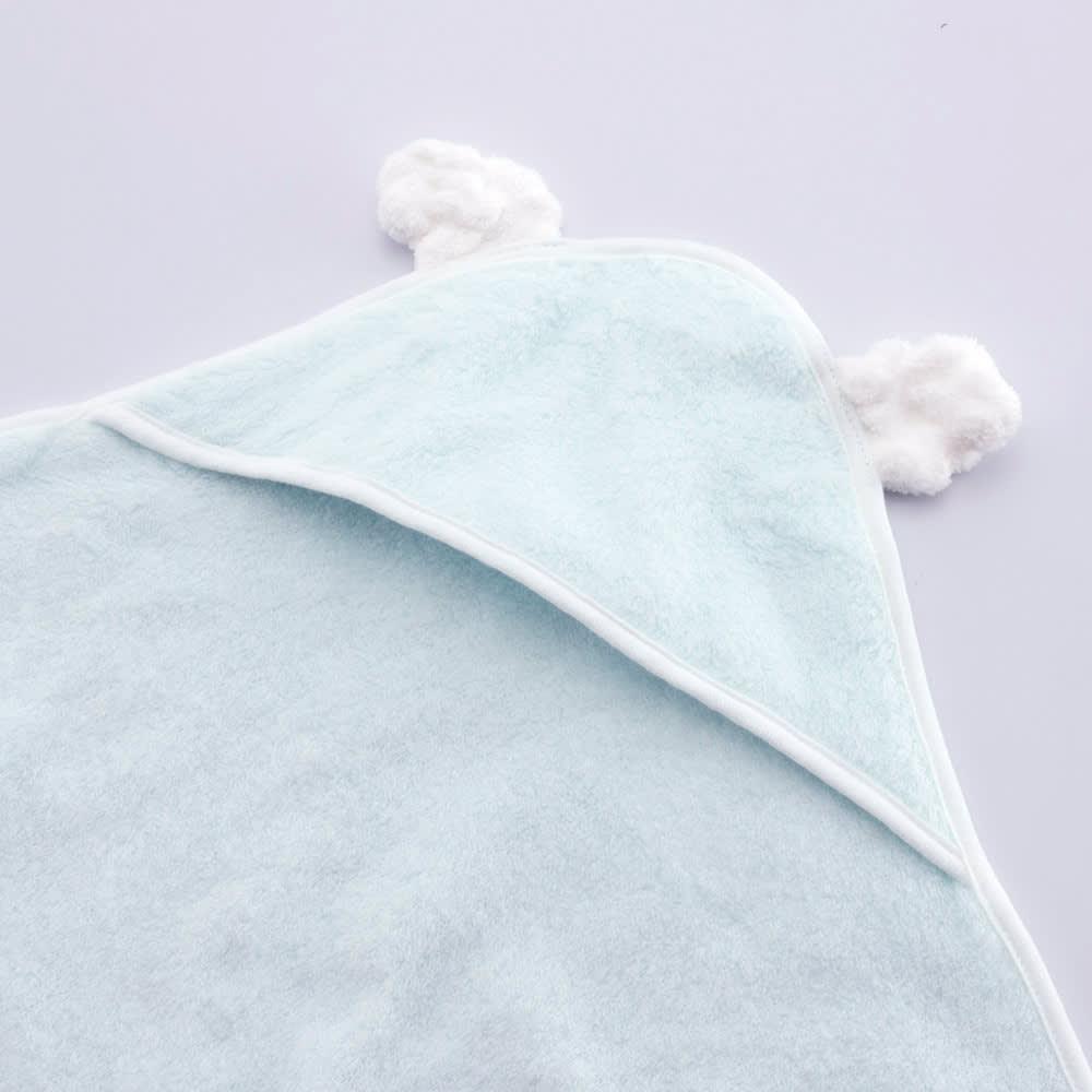 【今治産】白雲ベビータオルギフトセット(おくるみ・スタイ) (イ)ブルー  おくるみには可愛い耳つき♪<br>フード内側には使い心地にこだわり生地を縫いあわせています。