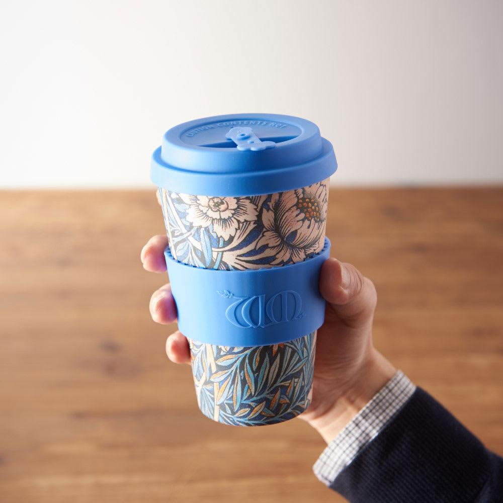 Ecoffee Cup/エコーヒーカップ 容量400ml ウィリアム・モリス柄 1個 (エ) Lily ホルダーはシリコーンゴムで熱さを軽減。滑り止めを抑制する効果もあります。