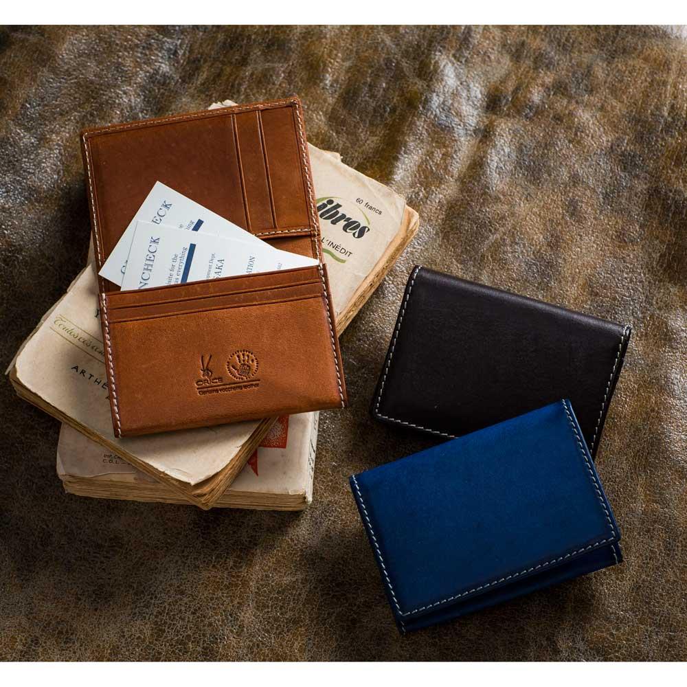 ORICE/オリーチェ レザー カードケース 左から時計回りに(ア)ブラウン、(ウ)ダークブラウン、(イ)ネイビー