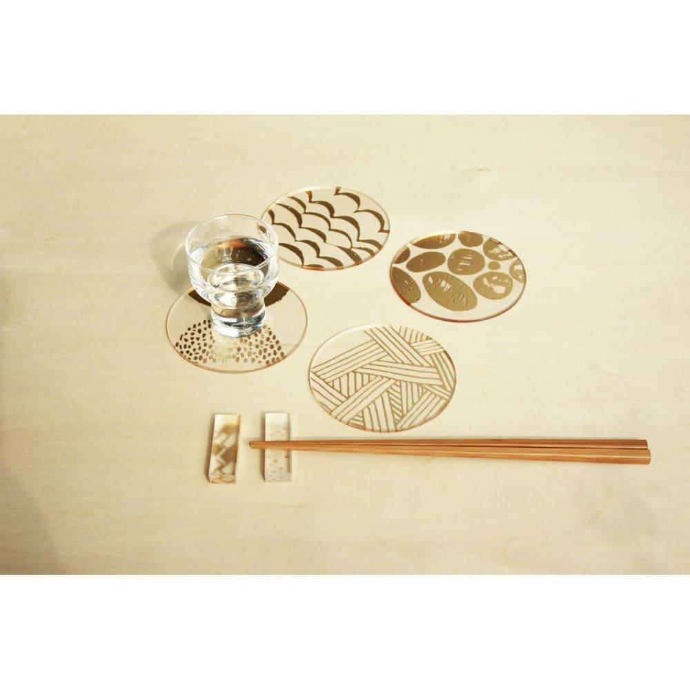 TOUMEI コースターセット 箔 (イ)「ろ」 ※同シリーズの箸置きは、申込番号GF0164で販売