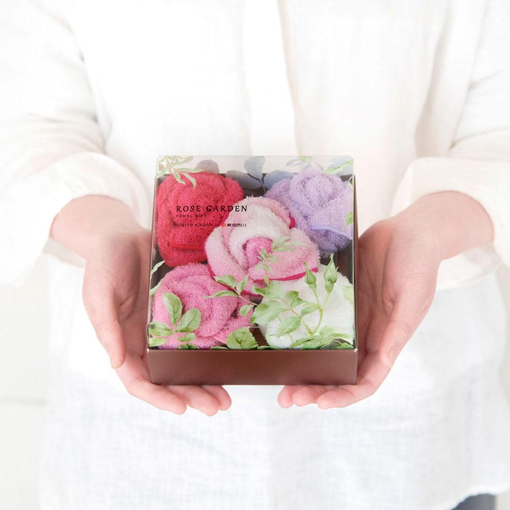 HIBIYA-KADAN×東京西川 ローズガーデン フラワータオル 4個入り 写真の商品は別売。5個入り(申込番号GF0183 ピンク系)