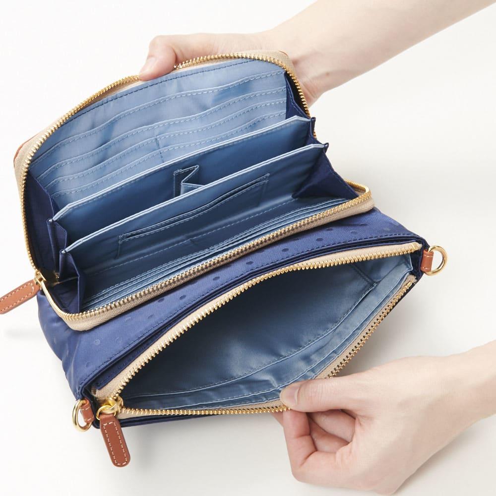 FRAME WORK ショルダーバッグ (イ)ネイビー<br />カード段の上にはお札を分けて収納できるお札ポケットもあります