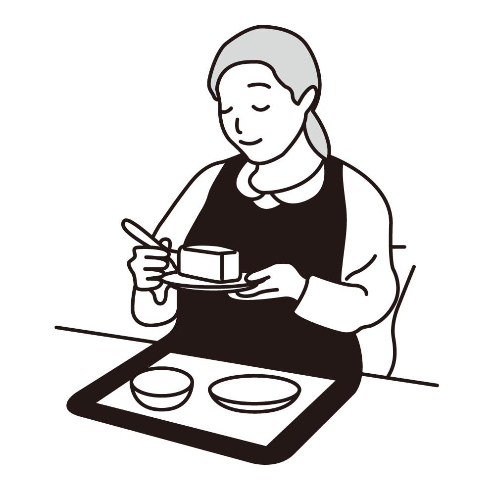 カインドケア/北欧柄食事用エプロン 同色2タイプ組 ●スタンダードタイプ:汁物をこぼしても安心の長めの丈が特徴で食器トレーも置ける幅広タイプ