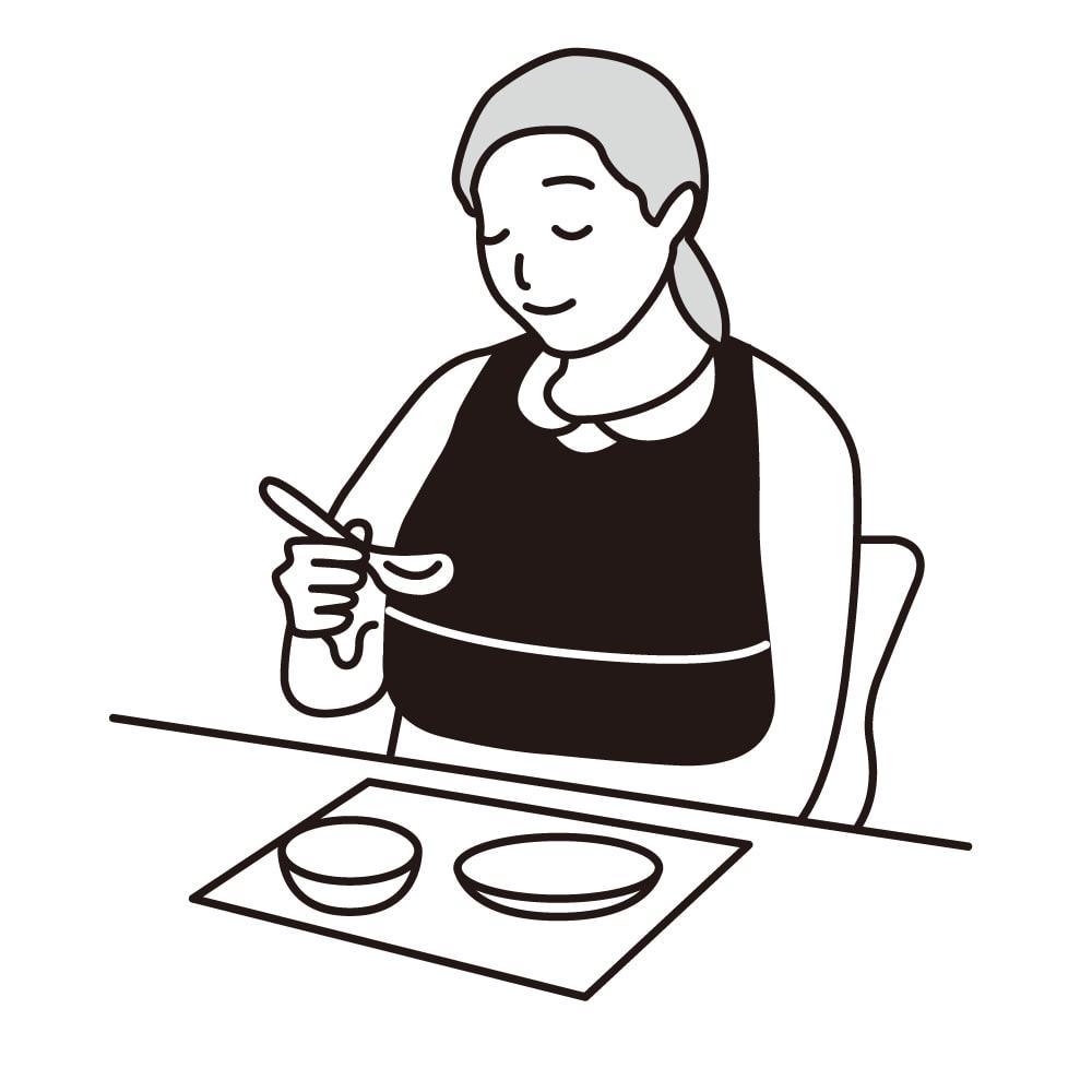 カインドケア/北欧柄食事用エプロン 同色2タイプ組 ●ポケット付ハーフタイプ:裾をひっくり返すだけでポケットがで食べこぼしをキャッチ!