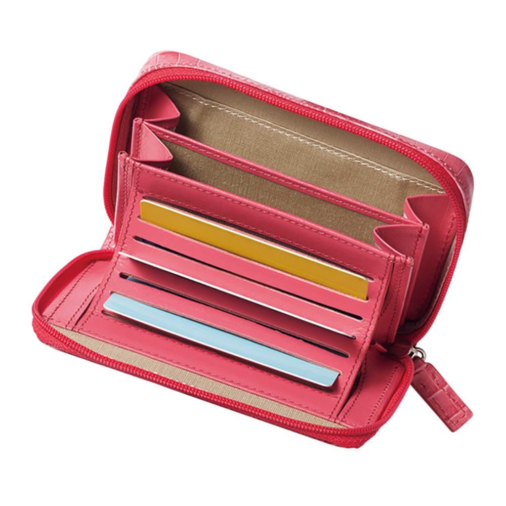 クロコ型押し レザー カードすっきり ラウンドミニ財布 INSIDE