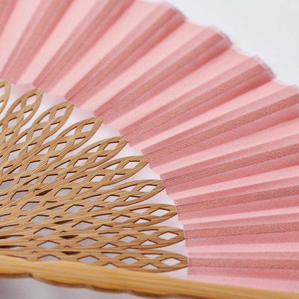 透かし彫りが美しい扇子【クジャク】(扇子袋付き) (ア)ピンク
