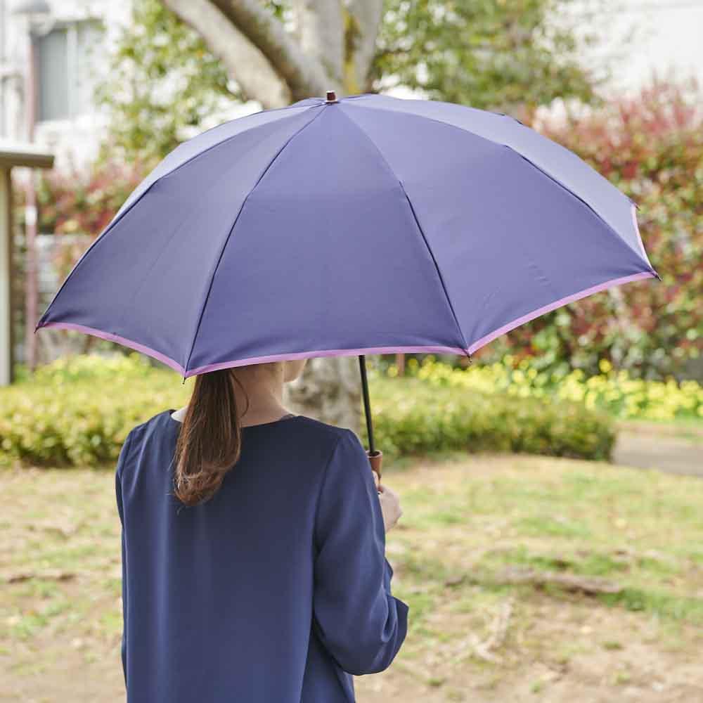 [レディース]小宮商店 甲州織の晴雨兼用折畳み傘 (ア)ネイビー×パープル