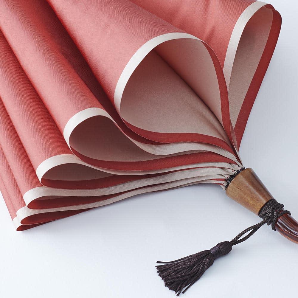 [レディース]小宮商店 甲州織の晴雨兼用折畳み傘 (ウ)コーラルレッド×アイボリー