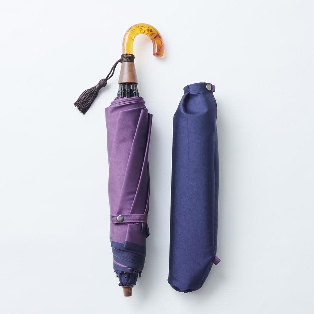 [レディース]小宮商店かさね折畳み傘(名入れ有) (ア)ネイビー×パープル