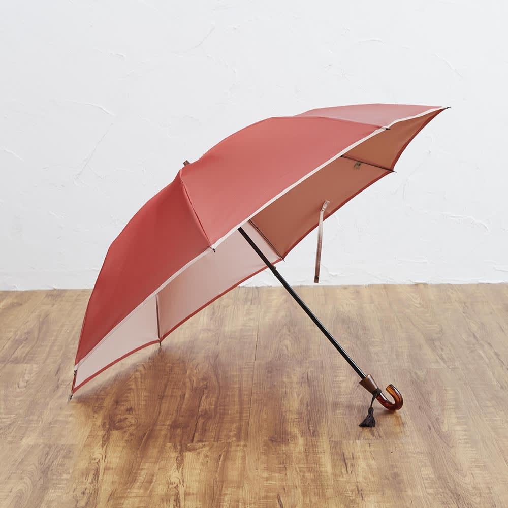 [レディース]小宮商店かさね折畳み傘(名入れ有) (ウ)コーラルレッド×アイボリー
